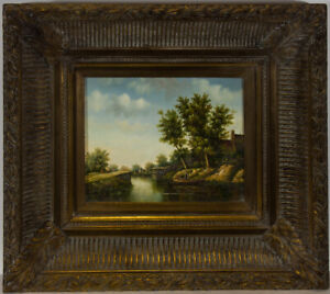 A-Norley-Framed-20th-Century-Oil-Canal-Scene-with-Figures