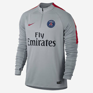 New-Mens-Nike-Paris-Saint-Germain-PSG-Football-Squad-Drill-Top-S-809738-013-Grey