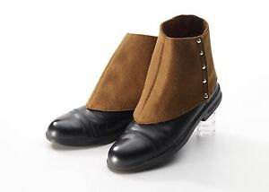 Mens spats shoe covers roaring 20s gangster adult costume spat brown