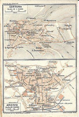 Cortona Cartina Geografica.Carta Geografica Antica Cortona Arezzo Piante Di Citta Tci 1923