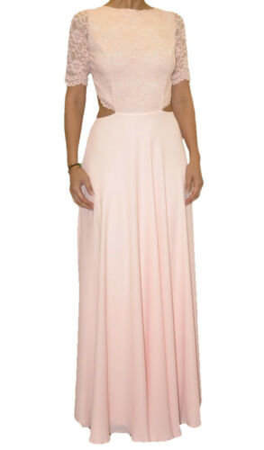 NEW  JOHN  ZACK  MAXI DRESS IN PINK WITH OPEN BACK LACE TOP CHIFFON SKIRT