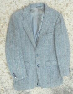 e6faae3e938d Image is loading fine-mens-Harris-Tweed-gray-herringbone-blazer-size-