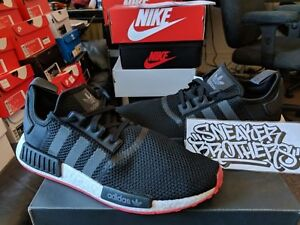 Adidas Originals NMD R1 Nomad Boost Core Black Red Bred White
