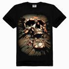 Mens Skull Punk Rock 3D Printing Tee Shirt Tops Cotton Blouses