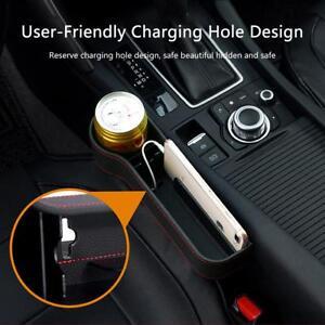 Leather Car Seat Slit Gap Storage Catcher Box Pocket Organizer Phone Cup Holder