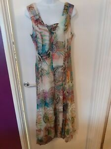 Apanage Floral Cotton Long Sleeveless Dress Size 16 Uk Ebay
