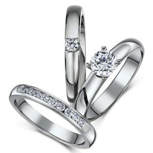 Conjunto-De-Titanio-De-Novia-Triple-Anillos-de-compromiso-piedra-CZ-de-la-eternidad