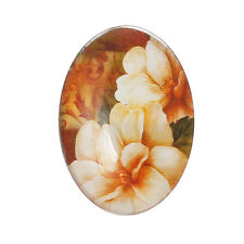 Glass cabochon 25x18 mm with orange flower, orchid, lily 4 pcs