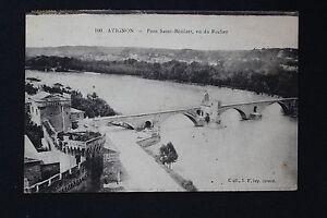 Tarjeta-Postal-Antigua-CPA-Avignon-Puente-San-Benezet-Vista-Del-Roca
