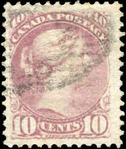 Used-Canada-F-VF-Scott-40-10c-1877-Small-Queen-Issue-Stamp