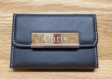 Engraved Personalized Leather Pocket Business Holder Id Case Credit Card Wallet