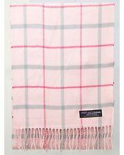 100% Cashmere Scarf Pink Gray Check Tartan Plaid SCOTLAND Wool Women R3923 Wrap