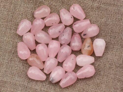 Jade Rose avec inclusions Gouttes Facettées 12x8mm   45 Perles de Pierre 4pc