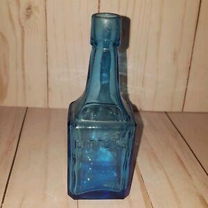 Vintage-Bitters-Blue-Bottle-6-034-Wheaton-NJ-glass-bottle-blue-decor-vase-prop