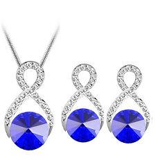 Silver Dark Blue Rhinestones Jewellery Wave Stud Earrings and Necklace Set S698