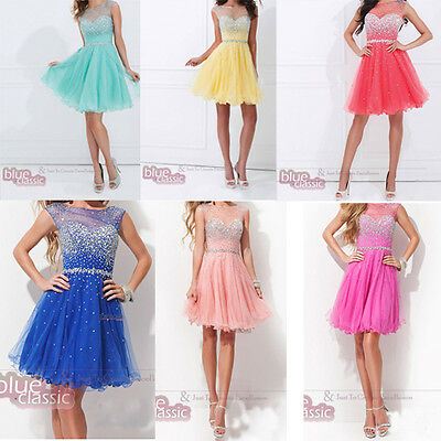 New Short Mini Beaded Evening Cocktail Dresses Prom Party Ball Gowns Size 6-16