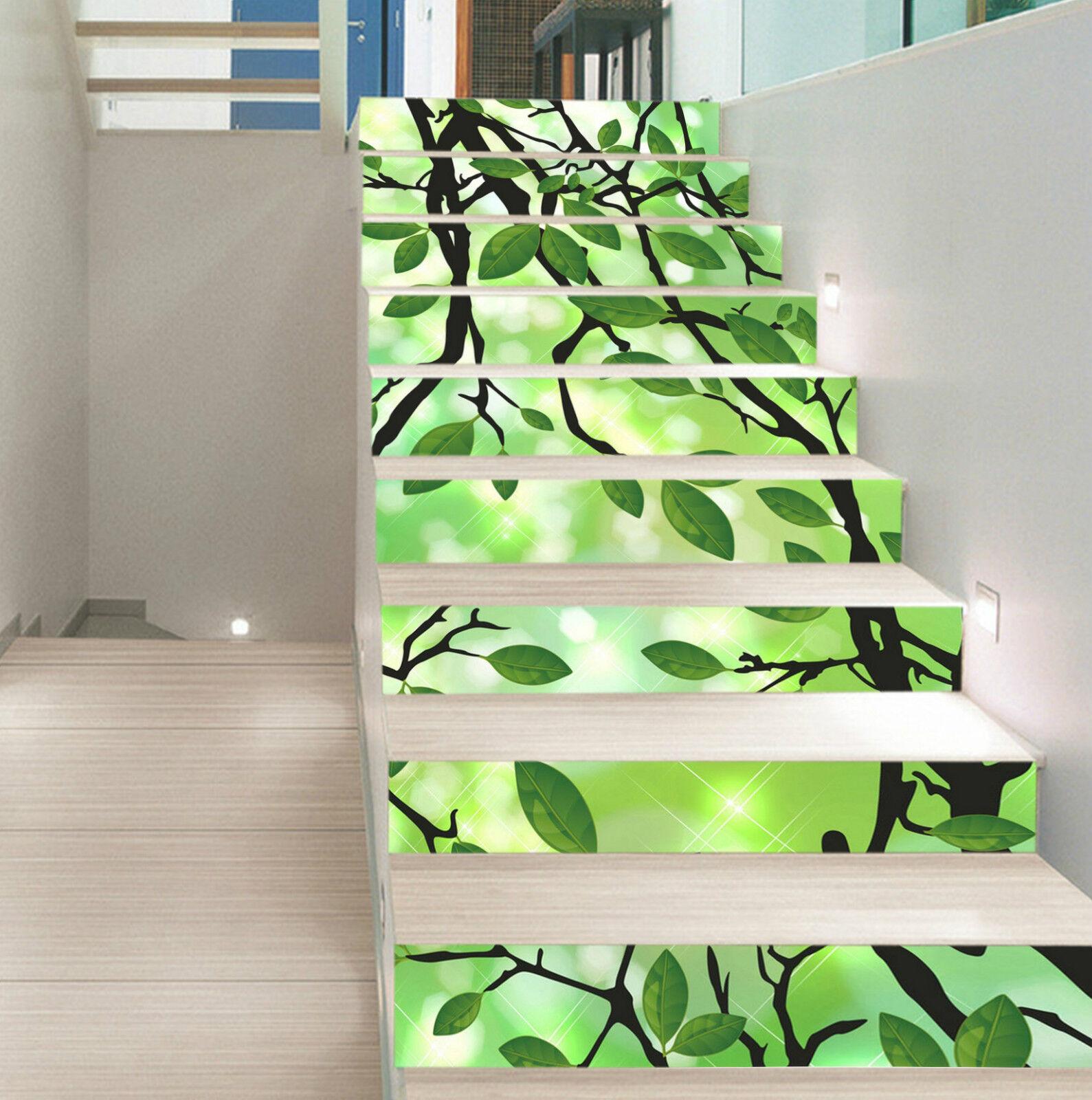 3D Grn Blatt 332 Stair Risers Dekoration Fototapete Vinyl Aufkleber Tapete DE