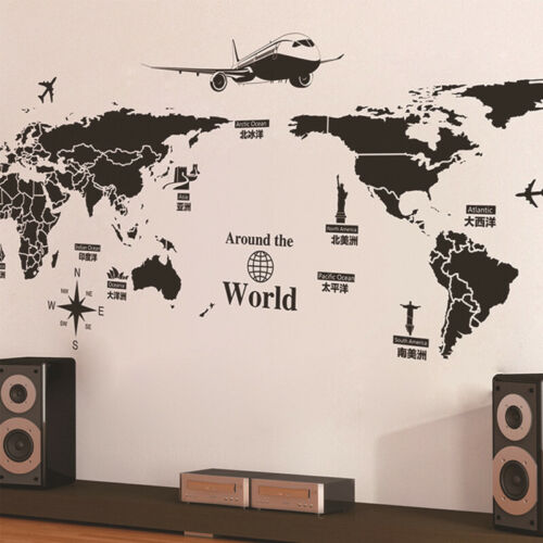 Wall Stickers Creative Personality World Map  Bed Rooms Waterproof Wallpapers
