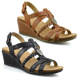 d898806994e03 Ladies Womens Leather Mid Wedge Heel Casual Summer Gladiator Sandals ...