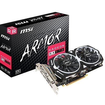 MSI Radeon RX 570 ARMOR 8G OC, Grafikkarte, weiß