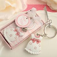 75 Cute Pink Girl Dress Key Chain Favor Baby Shower Christening Event Bulk Lot