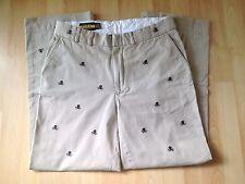 Vintage Mens Polo Ralph Lauren Rugby Skull Crossbones Khaki Pants 32 x 32 RARE!