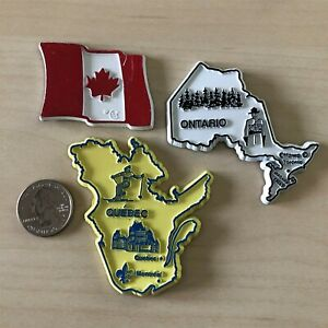 Lot-of-3-Canada-Travel-Souvenir-Magnets-Canada-Flag-Ontario-Quebec-37045