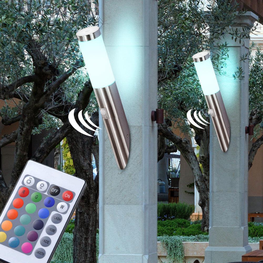 2er set RGB LED parojo lámpara spot lámpara iluminación acero inoxidable jardín porche patio