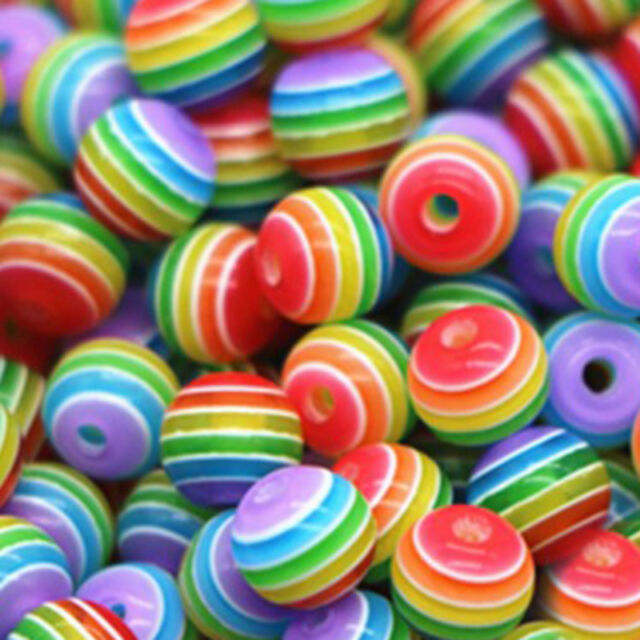200pcs Lot Wholesale Multicolor Striped Resin Round Spacer Loose DIY Beads 6mm
