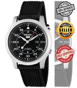 Seiko-Automatic-Men-Black-Dial-Day-Date-SNK809-SNK809K2-Black-Band-Watch