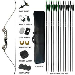 60lbs-Archery-Recurve-Bow-Set-Takedown-Hunting-Target-12X-Fiberglass-Arrows-USA