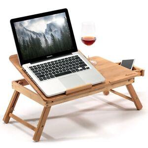 Tavolino Pieghevole Da Letto.Dettagli Su Vassoio Da Letto Pieghevole Tavolino Ventilato Computer Bambu Pc Regolabile