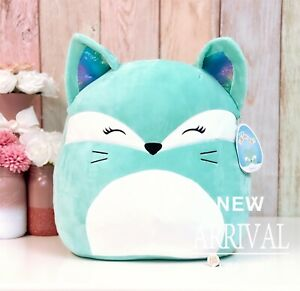 """Squishmallow 16"""" Inch Large Rienne the Fox W/Tie Dye Furry Tail NEW HTF LT ED"""