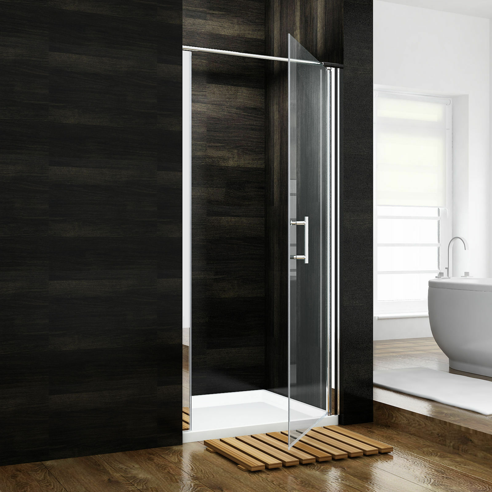 Sunny Shower 31 1 4x72 In Semi Frameless Glass Pivot Shower Door Chrome Finish