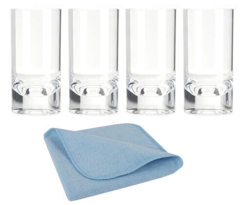 8 Acryl Longdrink Glas 290ml klar 3x Mikrofasertuch Spültuch Geschirrtuch blau