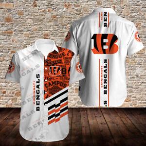 Cincinnati Bengals Football Shirt Summer Casual Short Sleeve Button Down T-Shirt