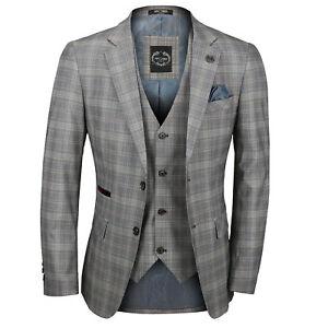 100% Wahr Mens 3 Piece Suit L Grey Prince Of Wales Check Retro Vintage Smart Tailored Fit Gutes Renommee Auf Der Ganzen Welt