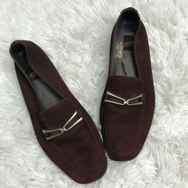 Aerosoles Loafers Burgundy Leather Suede Slip On Vintage Silver Womens Size 7