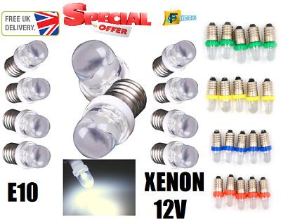E10 SMD 5050 8 LED Xenon White Bulb MES Screw Torch Headlamps//Light x2