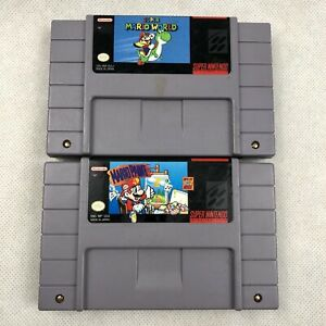 Super-Nintendo-Mario-2-Game-Lot-Super-Mario-World-and-Mario-Paint-Authentic-SNES