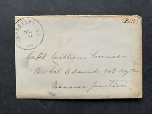 1861 MOSSINGFORD VA PAID 5 CONFEDERATE STAMPLESS +11p LETTER ! CIVIL WAR CAPTAIN