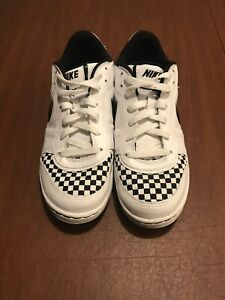 Details about Pre,owned White \u0026 Black Nike Air Casual Shoes w/ Checkered  Toe Size US 8.5