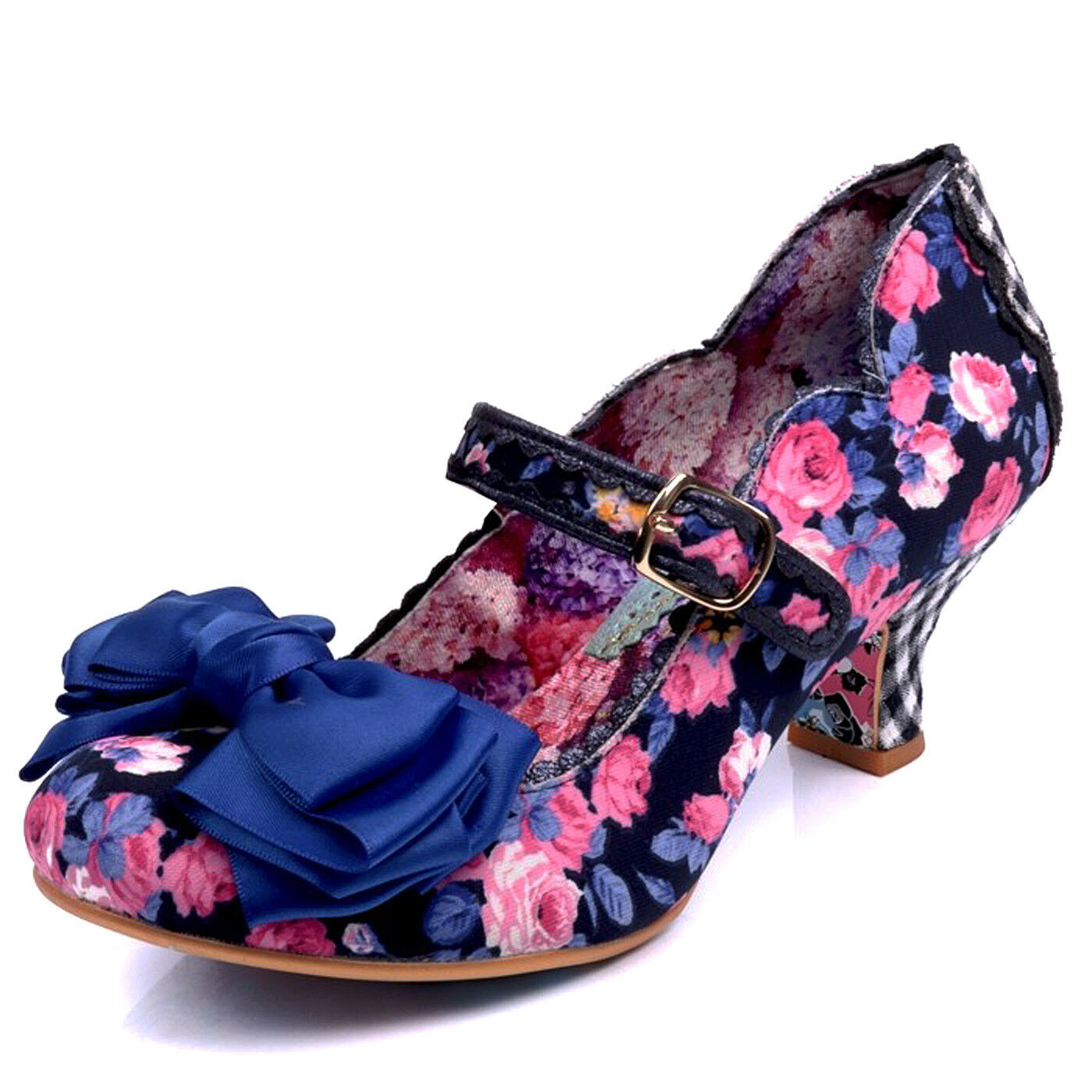 Irregular Choice NEW Summer Breeze Blau navy floral mid heel mary jane schuhe 3-9
