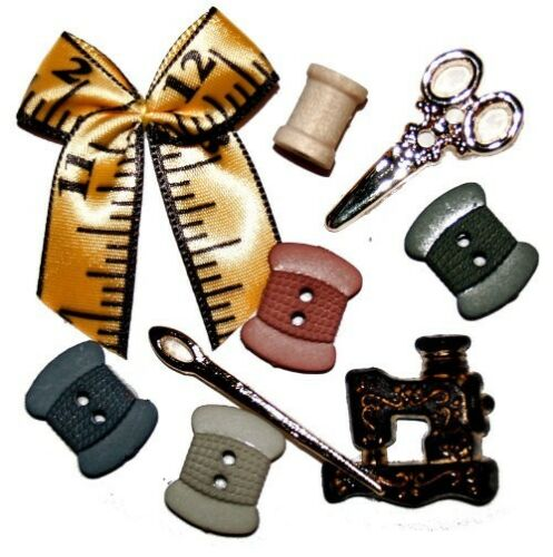 JESSE JAMES BUTTONS Stitch In Time 348 ~Sewing Machine Spools etc DRESS IT UP