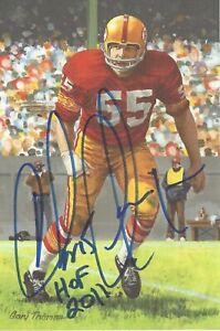 Chris Hanburger Washington Redskins  Autographed Goal Line Art Card Football HOF