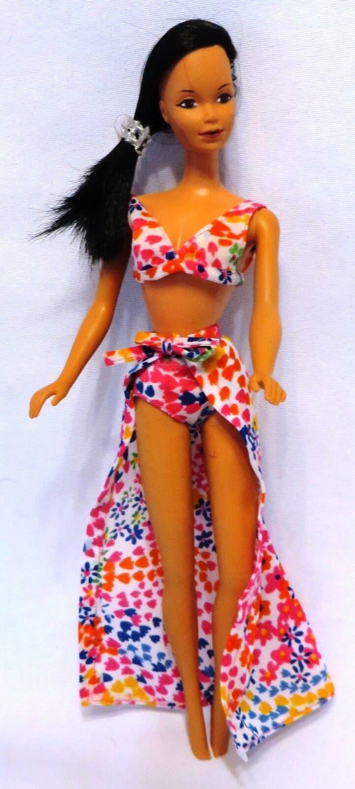 1975 Mattel Hawaiian Barbie Steffie Face 1st edición con Original bikini y pareo