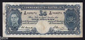 Australia-R-47F-Coombs-Watt-5-Pounds-1949-1st-Prefix-R-85-Fine