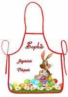 Tablier De Cuisine Enfant Joyeuses Pâques Personnalisable Avec Prénom Réf 39