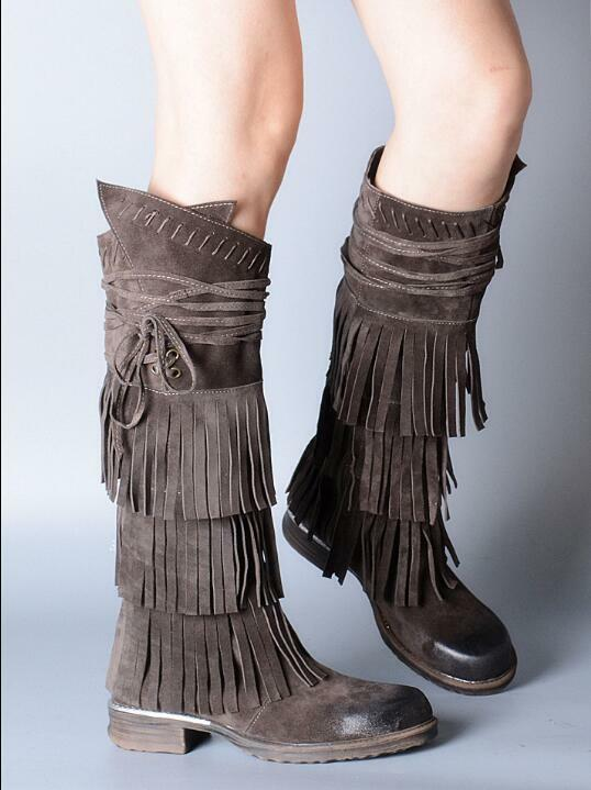 New Womens Wniter shoes Cow Suede Leather Tassels Fringe Knee High Boots shoes