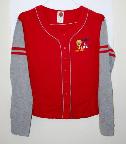 WB Looney Tunes Tweety Bird Get A Life Baseball Shirt New Sz LG Lg Sleeve Ladies